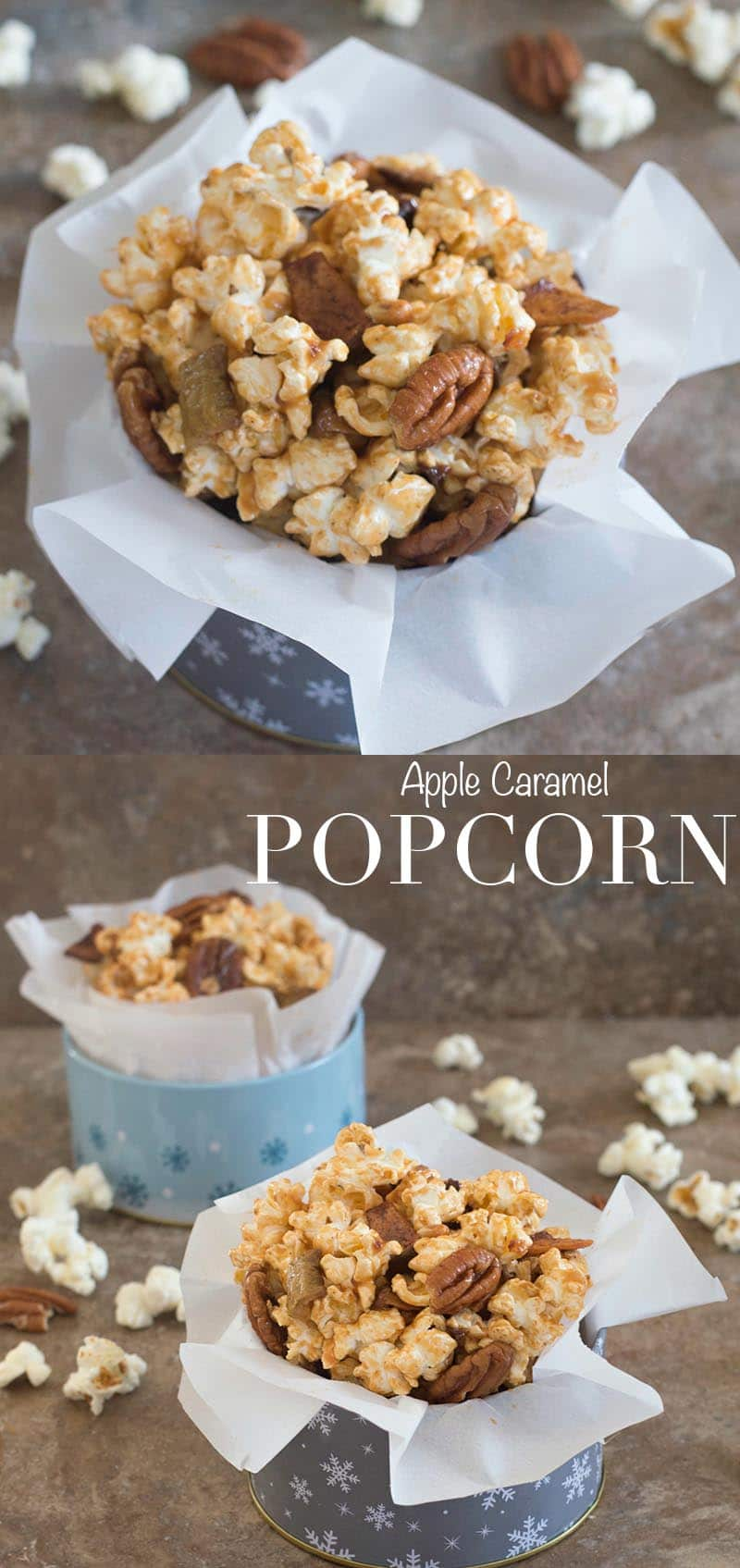 Take your popcorn to a whole new level. Caramel popcorn is easy to make. Add hot caramel, pecans & apple chips and serve it on movie nights or game nights @popsecret @walmart