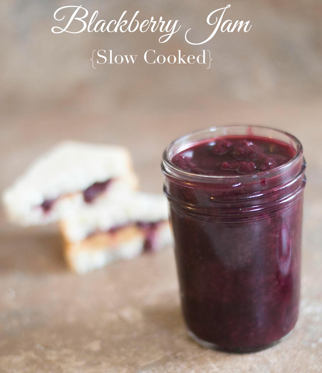 Slow cooker blackberry jam is an easy crock pot recipe to make. Just add the ingredients and it will cook itself. Add nutmeg & your PB&J will be delicious!