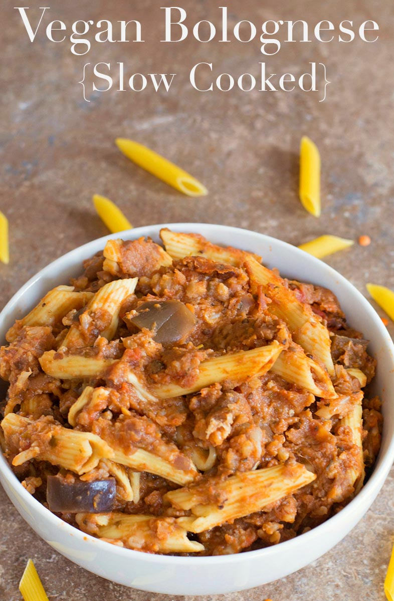 Simple slow cooker vegan bolognese recipe using fresh veggies and red lentils. Serve with spaghetti or penne pasta. Make for a weeknight family dinner