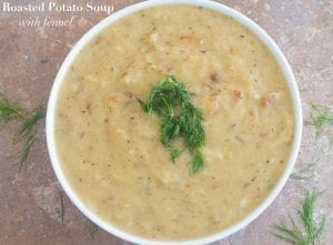 Vegan roasted potato soup with fennel & dill. It is an easy potato soup recipe made using cream of coconut. Comfort food recipe for cold or rainy days