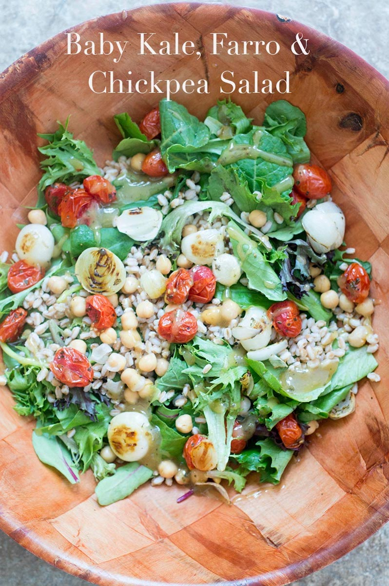 This light lunch salad is made with baby kale, lettuce, farro, and chickpeas. The dressing is a simple maple syrup vinaigrette that takes only 5 minutes to make.