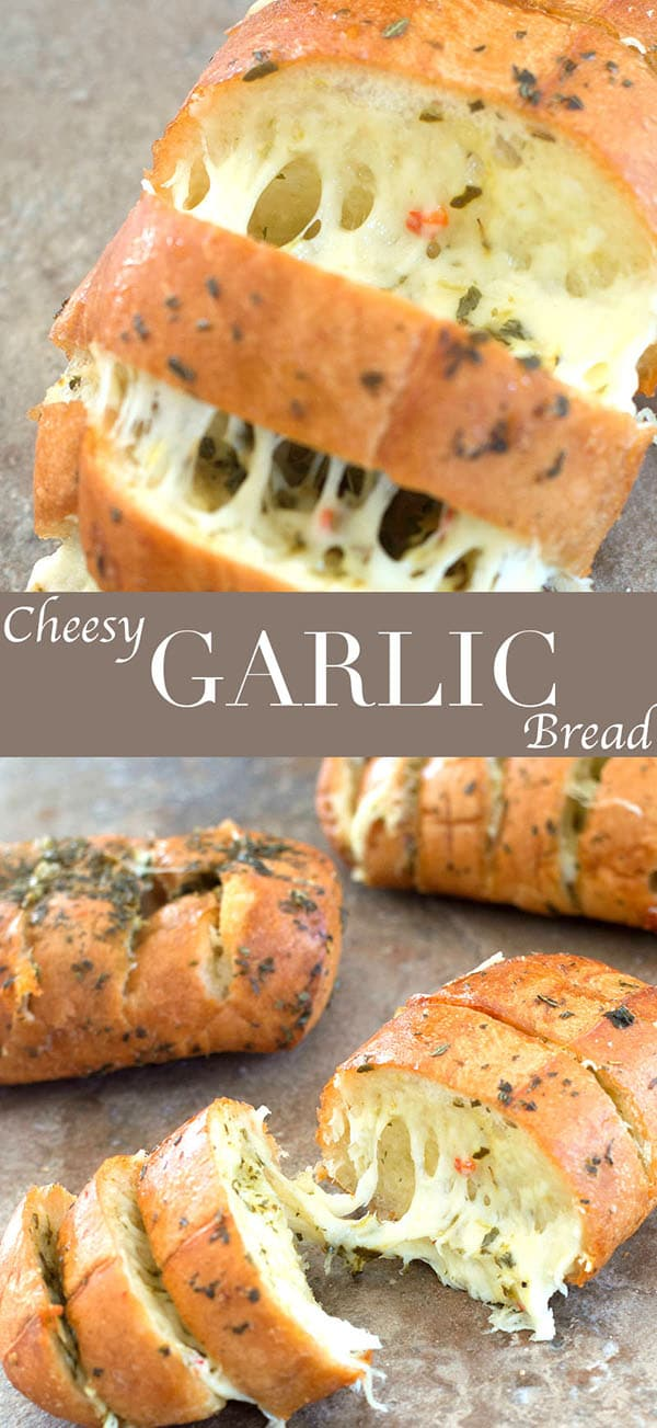 These cheesy garlic breads only take 20 minutes to make. Quick and easy sides for pasta night or pizza night. Use mini French Bread for best results.