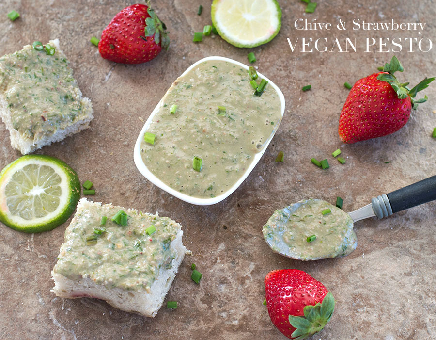 Vegan pesto spread with chives and Florida Strawberries. Takes only 7 Ingredients and made in less than 5 minutes. Use it on sandwiches or pita recipes