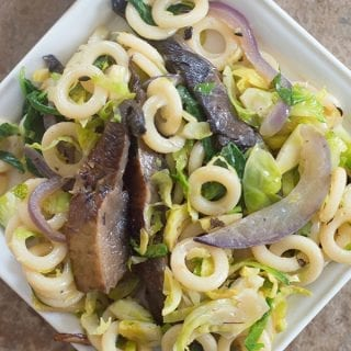 Simple winter pasta salad made with portobello mushrooms, baby kale, anelli pasta & vegan creme fraiche. Make in under 1 hour and the perfect weeknight meal