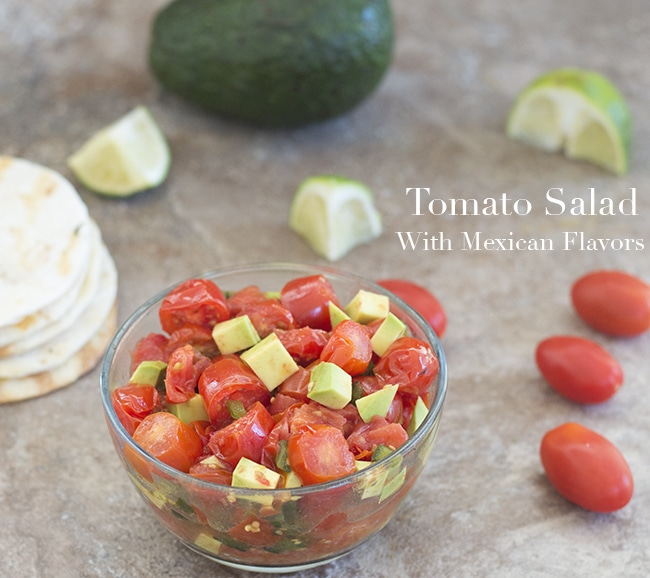 Quick and easy tomato salad made using Mexican ingredients like cayenne pepper and poblano peppers. Use it as a topping or for a light lunch salad.