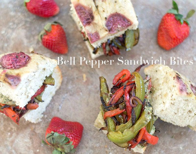 top view of bell pepper sandwich bites