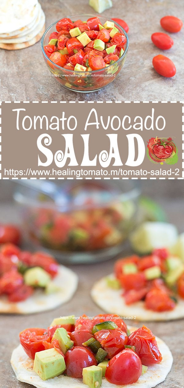 Easy, Healthy tomato salad with avocado marinated in a spicy oil using Cherry tomatoes. Quick and Easy tomato salad #tomato #salad #healthy #spicy #picnicrecipes #appetizers #tomatorecipes #ovenroasted https://www.healingtomato.com/tomato-salad-2/