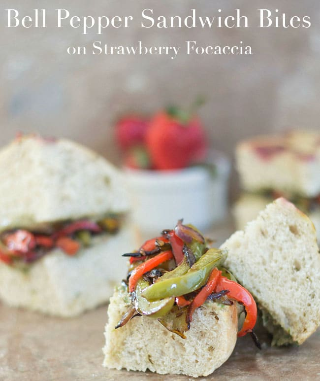 What do you do with bell peppers? Make this bell pepper sandwich bite! It is perfect vegan brunch recipe using focaccia bread and strawberry chives pesto