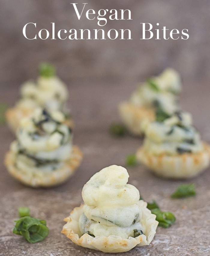 Vegan colcannon recipe like you have never seen before. Made with collard greens and topped in filo shells. Great appetizer for your St. Patrick's day menu