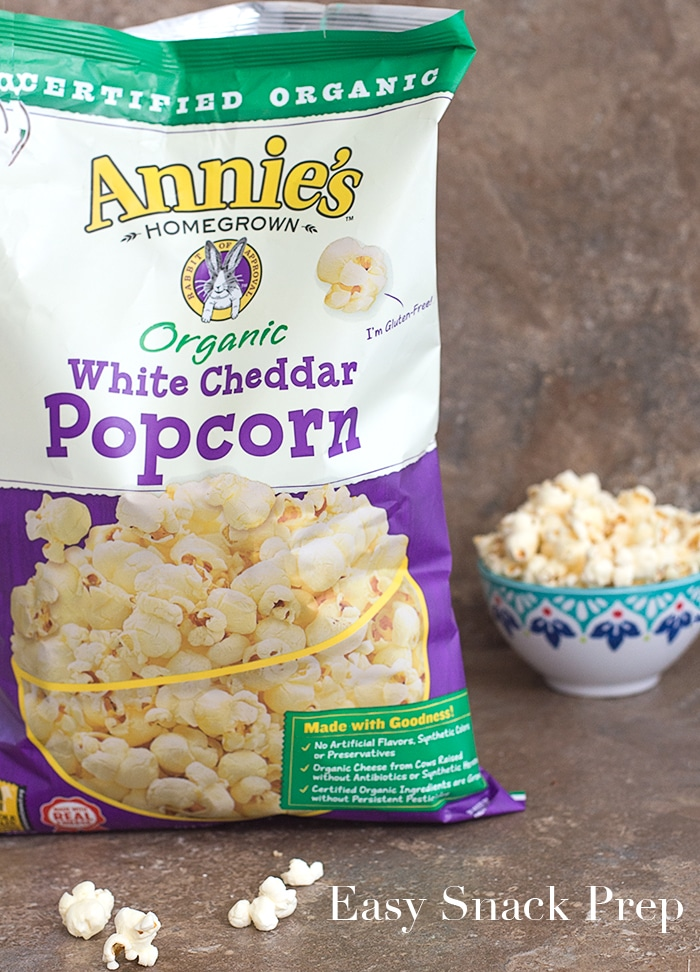Easy Snack Prep Annies organic white cheddar popcorn