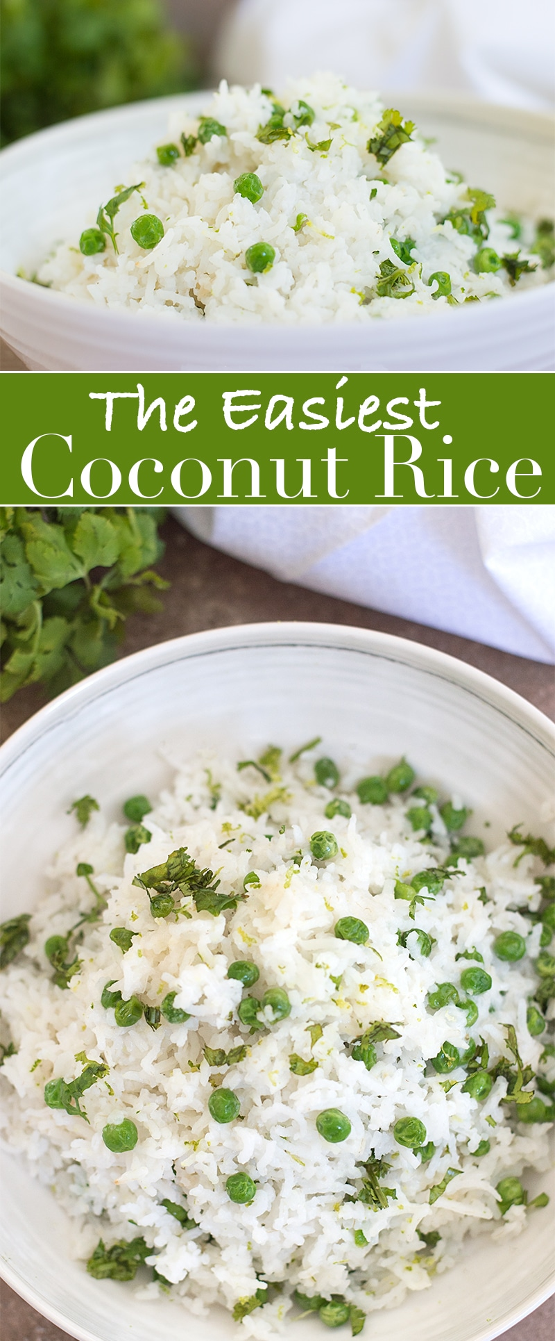 Coconut rice recipe made with easy ingredients that can be made in 25 minutes. Rinse the rice, add cooked peas, coconut milk. Garnish with lime and cilantro