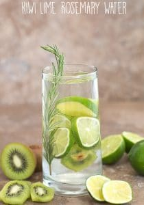 Summer Cleansing Water using kiwi and lime with Rosemary