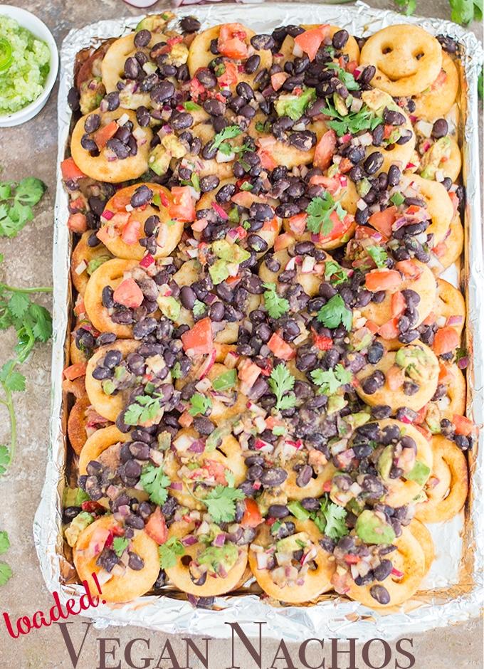 Top View of the Vegan Nachos on a Baking Tray
