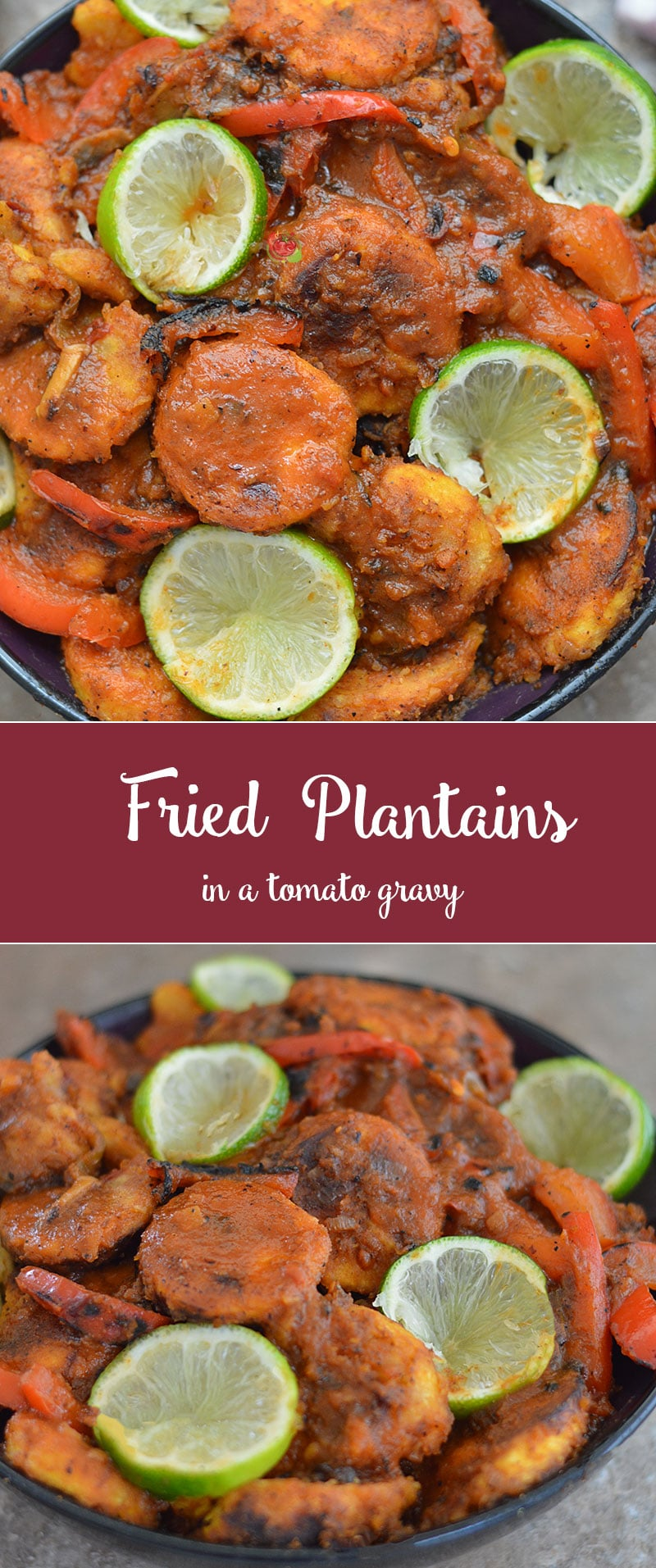 Fried Plantains in a tomato gravy made with African flavors. It's a hearty vegan dinner recipe made with fresh green plantains. Serve with rice by itself