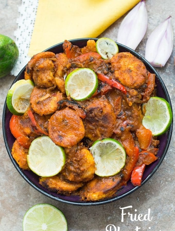 Fried Plantains In A Tomato Gravy (Vegan)