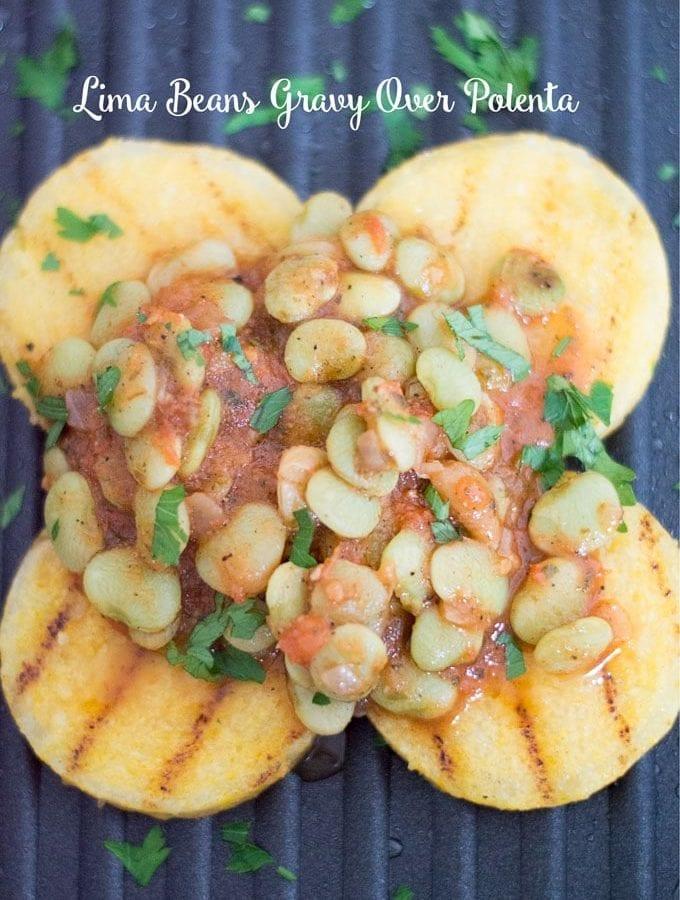 Lima Beans Gravy Over Polenta (Vegan)