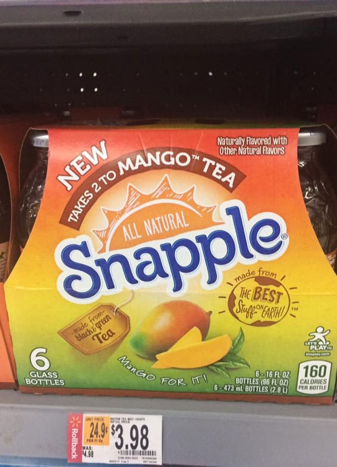 """Takes 2 to Mango"" 6 Pack Snapple Case on the Shelves at Walmart With Price of $3.98Tea at Walmart - Celebrating National Tea Day - Celebrating National Iced Tea Day"