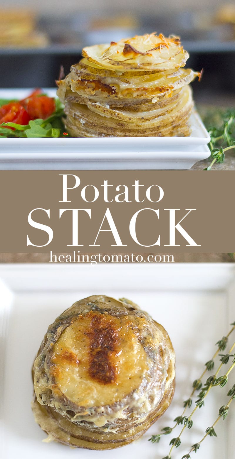 Potato Stack is a simple side dish made with Idaho potatoes, milk, Parmesan cheese and Thyme. Add nutritional yeast and flax seed meal for texture and flavor
