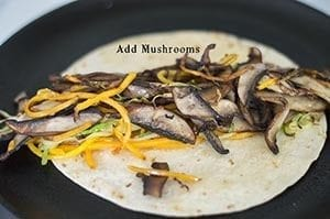 Mushrooms topped on the zoodles and tortilla