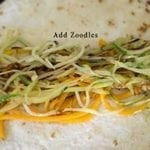 Overhead view of Butternut Squash and Zucchini Zoodles on tortilla - Souvlaki