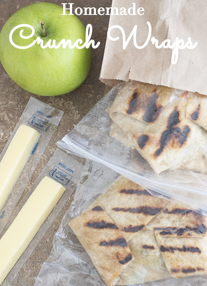 Crunchwraps in ziploc bags and brown-bagged