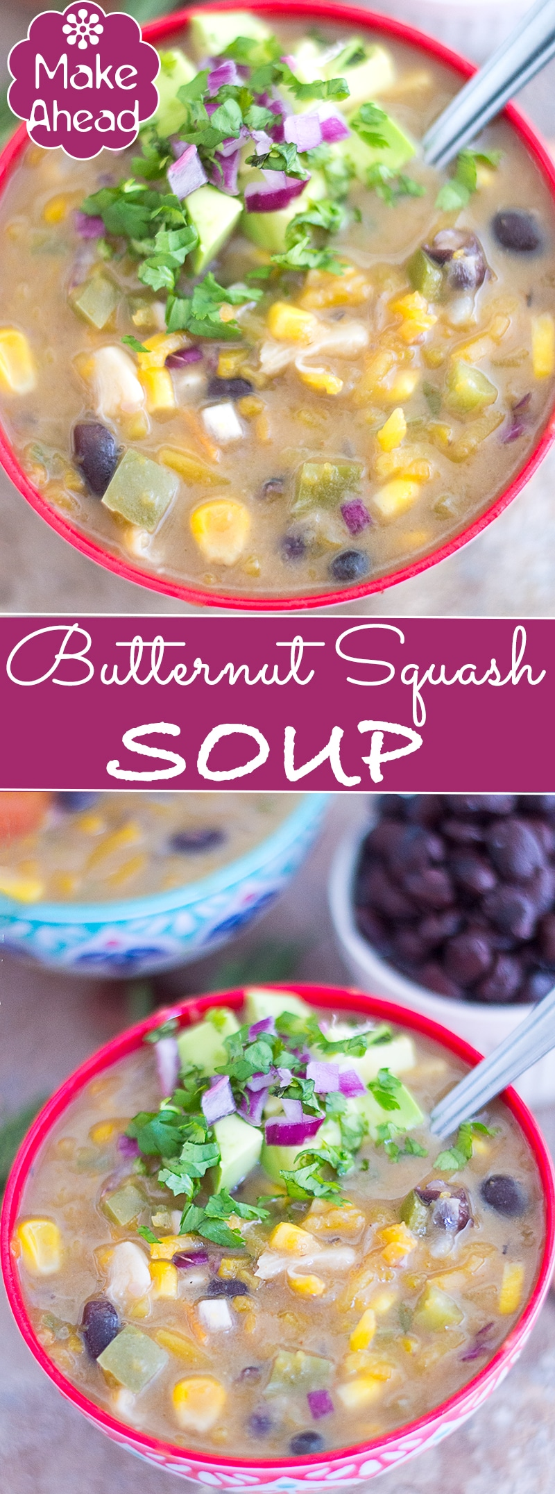 Make-ahead butternut squash soup with Southwestern Flavors. Used butternut squash zoodles, black beans, corn, onions and spices to make this perfect winter soup. Freeze it and use it daily. Will last you the whole week