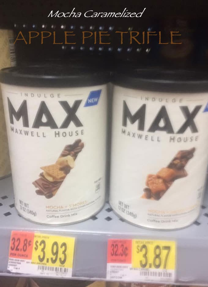 Front View of 2 Cans of MAX Indulge On Shelf At Walmart With Price Tag of $3.87 - Apple Pie Trifle