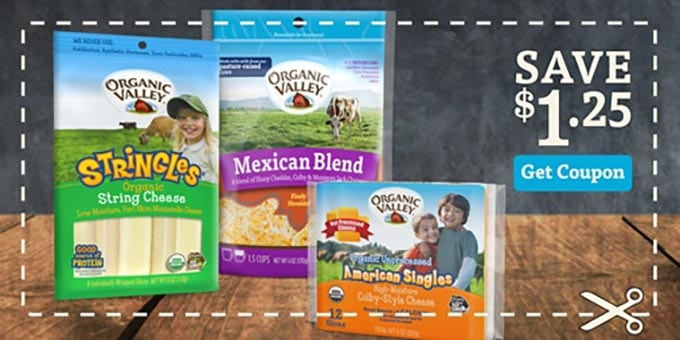 Coupon showing Organic Valley Cheese Products with $1.25 off