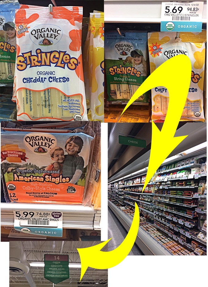A Collage of Where to Find Organic Valley Cheeses in Publix