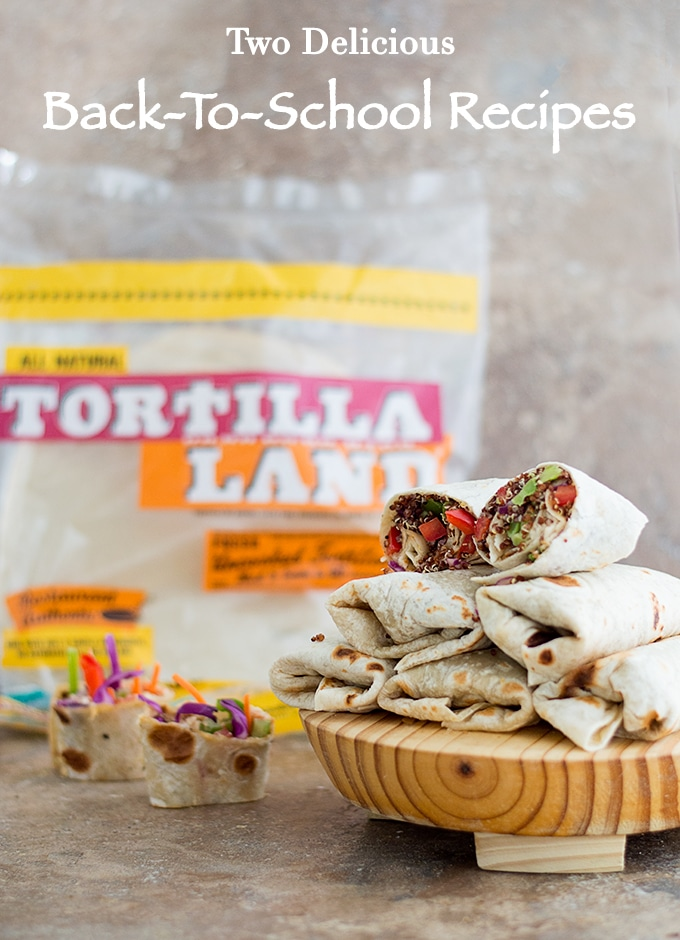 Front View of 2 Recipes. Rainbow Rollups Made with Colorful Veggies is on the Left. Quinoa Wraps made with Brown Quinoa, Bell Peppers, Red Cabbage and Wrapped in Tortillaland Tortillas.