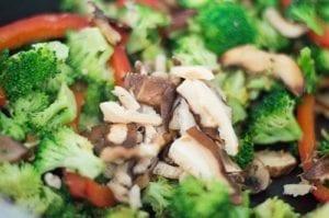 Broccoli, Mushrooms, Red Bell Peppers, Wet Shitake Mushrooms in Stir Fry Pan