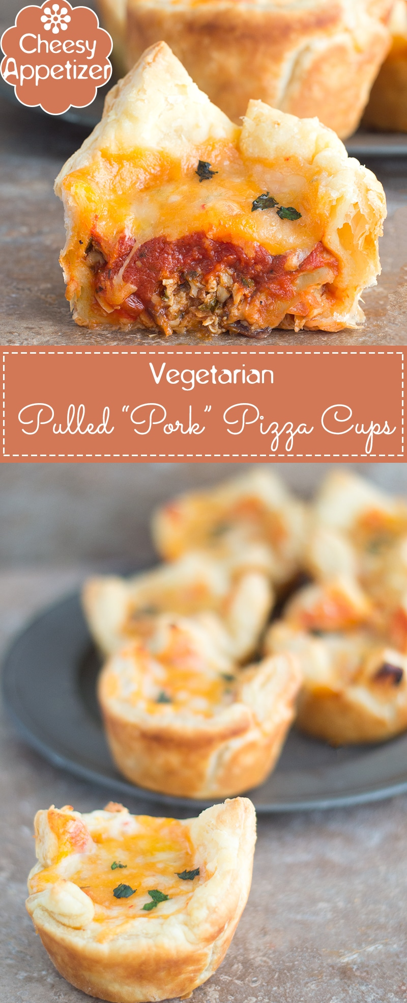 Pizza Cups Filled with Veggie Pulled Pork Cups, Pizza Sauce and Topped with Cheese. Made For Tailgating Parties or Game Day Get-Togethers. Made in Only 30 Minutes | Game day recipes, finger foods, vegetarian appetizers #ad #TailgateWithATwist