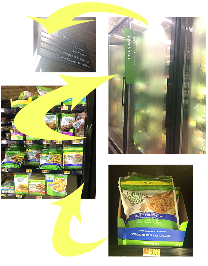 Photos of where to find the Morningstar Pulled Pork in Walmart