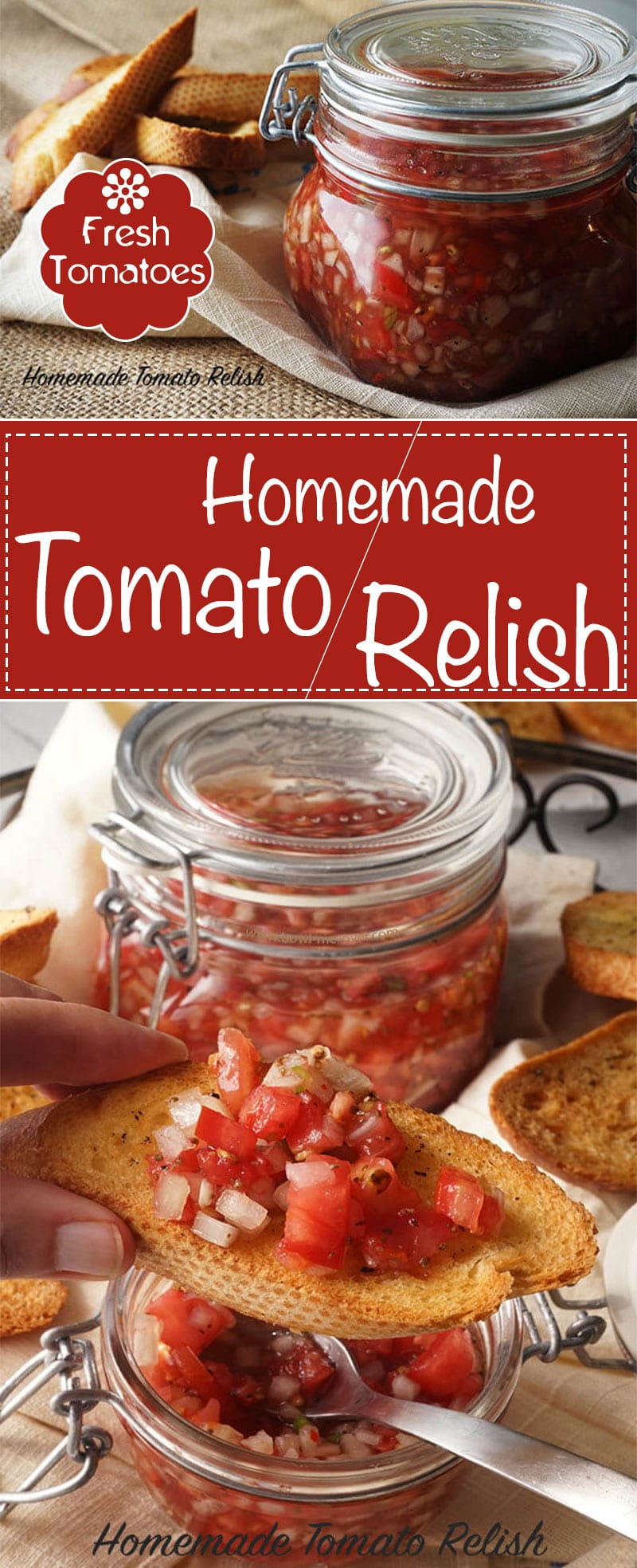Homemade Tomato Relish will fast become your new favorite condiment! Fresh tomatoes, onions and peppers with delicious pickling spices, it's so versatile! Best Tomato Recipe! | Appetizers, homemade, Relish recipes, from scratch