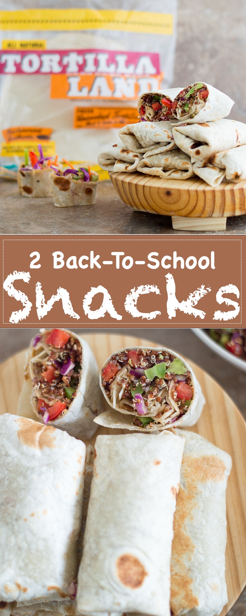 Quinoa Wraps made with Red Cabbage, Edamame and bell peppers wrapped in Tortillas. Also, Asian-Inspired Rainbow Rollups are perfect 2 Back-to-school recipes