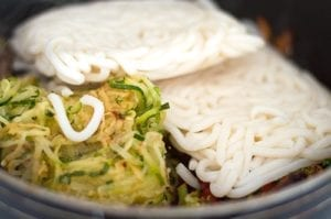 Japanese Udon Noodles in Pan with Zoodles