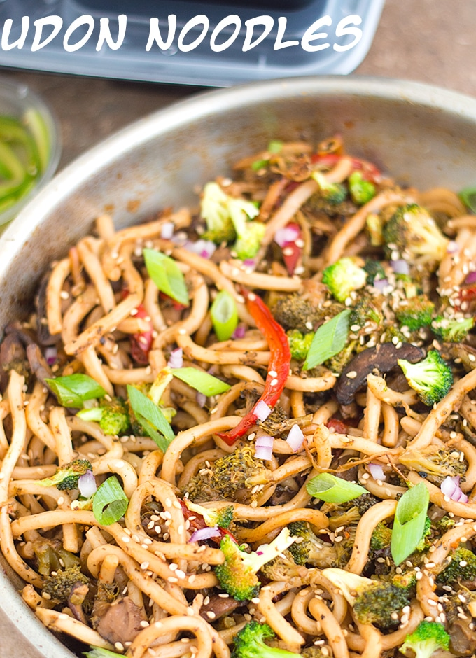 Overhead View of Stir Fried Udon Noodles in a Stainless Steel Pan.