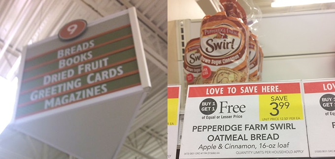 Aisle where to the Pepperidge Farm Swirl Bread is located in Publix - Avocado Toast
