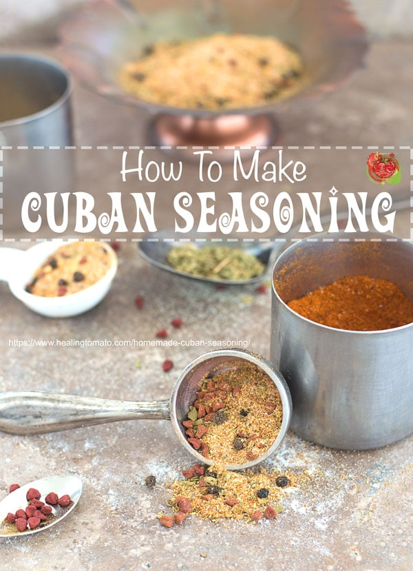 Homemade cuban seasoning mix recipe that's perfect for rice, rope vieja and beans | Sazon, homemade spices, vegan seasonings, vegetarian seasoning, cuban spices, cuban seasoning, Homemade Sazon Seasoning #cubanseasoning #homemade #cubanspices #homemadecubano #spices https://www.healingtomato.com/homemade-cuban-seasoning/
