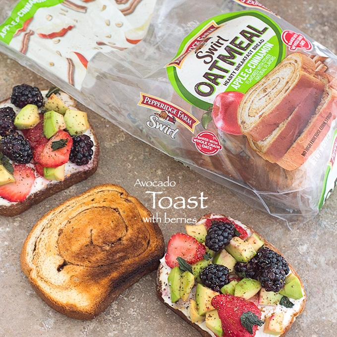 Overhead view of Pepperidge Farm Swirl Oatmeal Bread Partially Used. On its Side, 3 Slices of Toast. 2 of the Toasts are Topped with the Avocado Toast Ingredients. The Other is Just Toasted
