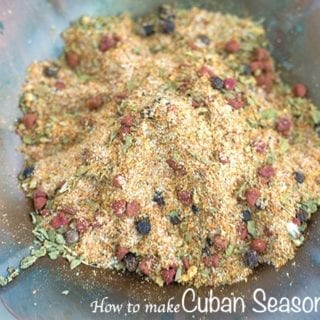 Overhead closeup view of the homemade Cuban seasoning