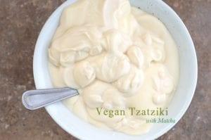 soy yogurt added to bowl
