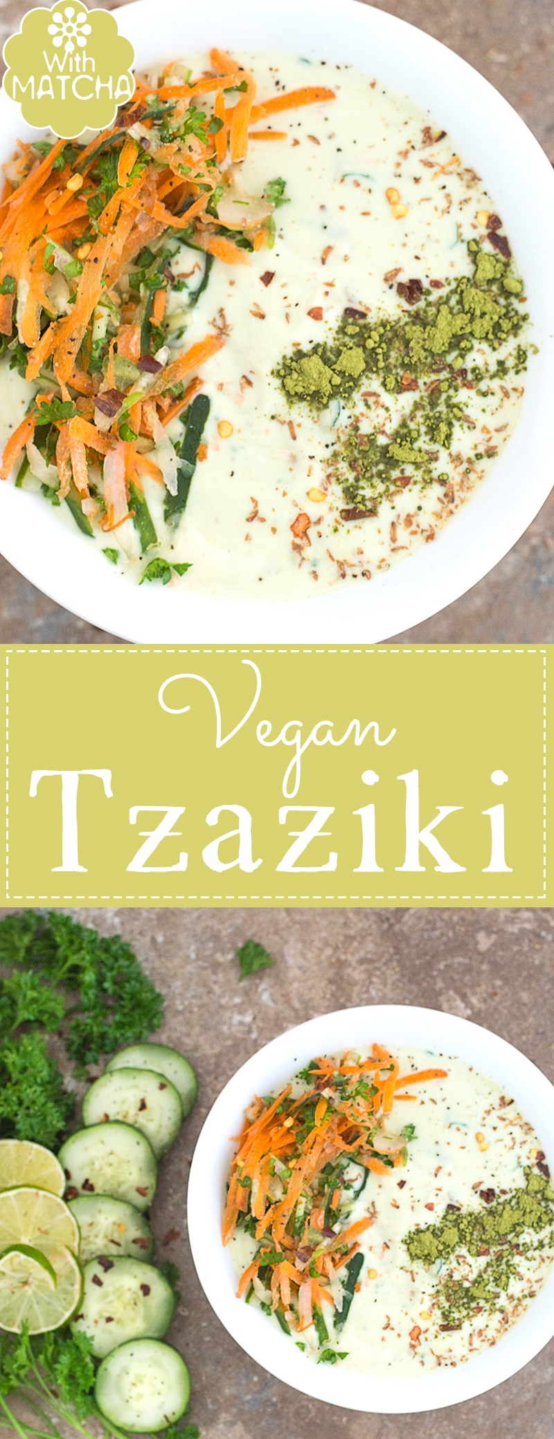A quick and easy vegan Tzatziki recipe using soy based yogurt, carrots and matcha! I took the traditional Greek Tzatziki recipe and turned it up a notch! | Matcha Recipes, Greek Recipes, Mediterranean recipes, Greek Appetizers