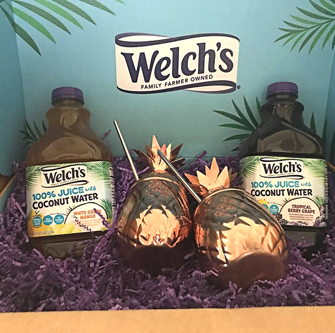 Coconut Water in a Box with Brass Pineapple Mugs - Don't Hate Coconut Water