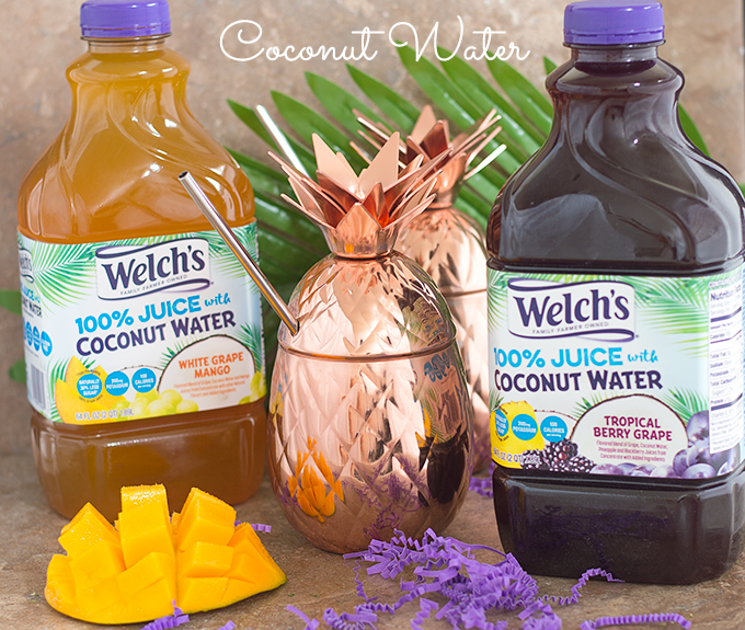 Welch's 100% Coconut Water Containers. One is the Grape Flavored and the second is the Mango flavored one. Don't Hate Coconut Water