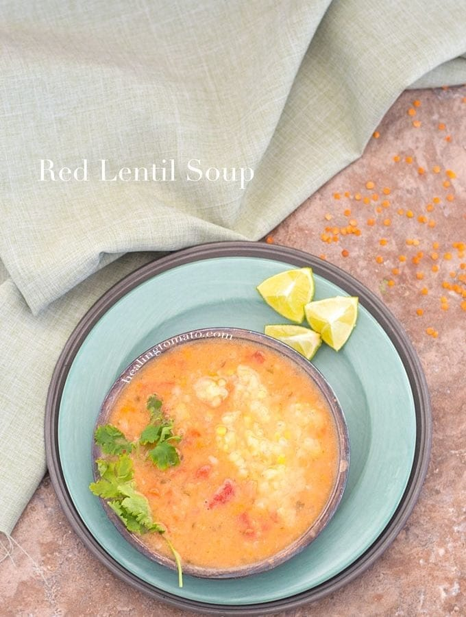 Red Lentil Soup Made In A Pressure Cooker