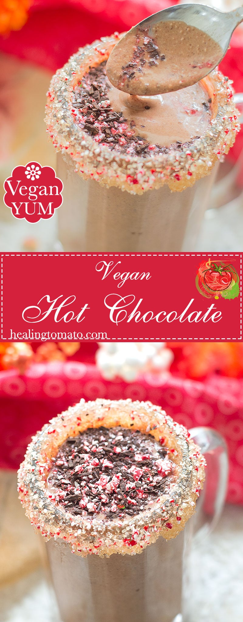 Quick and easy Vegan Hot Chocolate made with almond milk. Its the perfect Christmas morning drink or when the weather is cold outside. Made in 20 minutes.