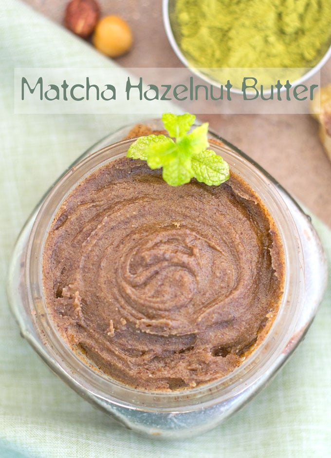 Overhead view of Matcha Hazelnut Butter with a Mint Sprig on the side.