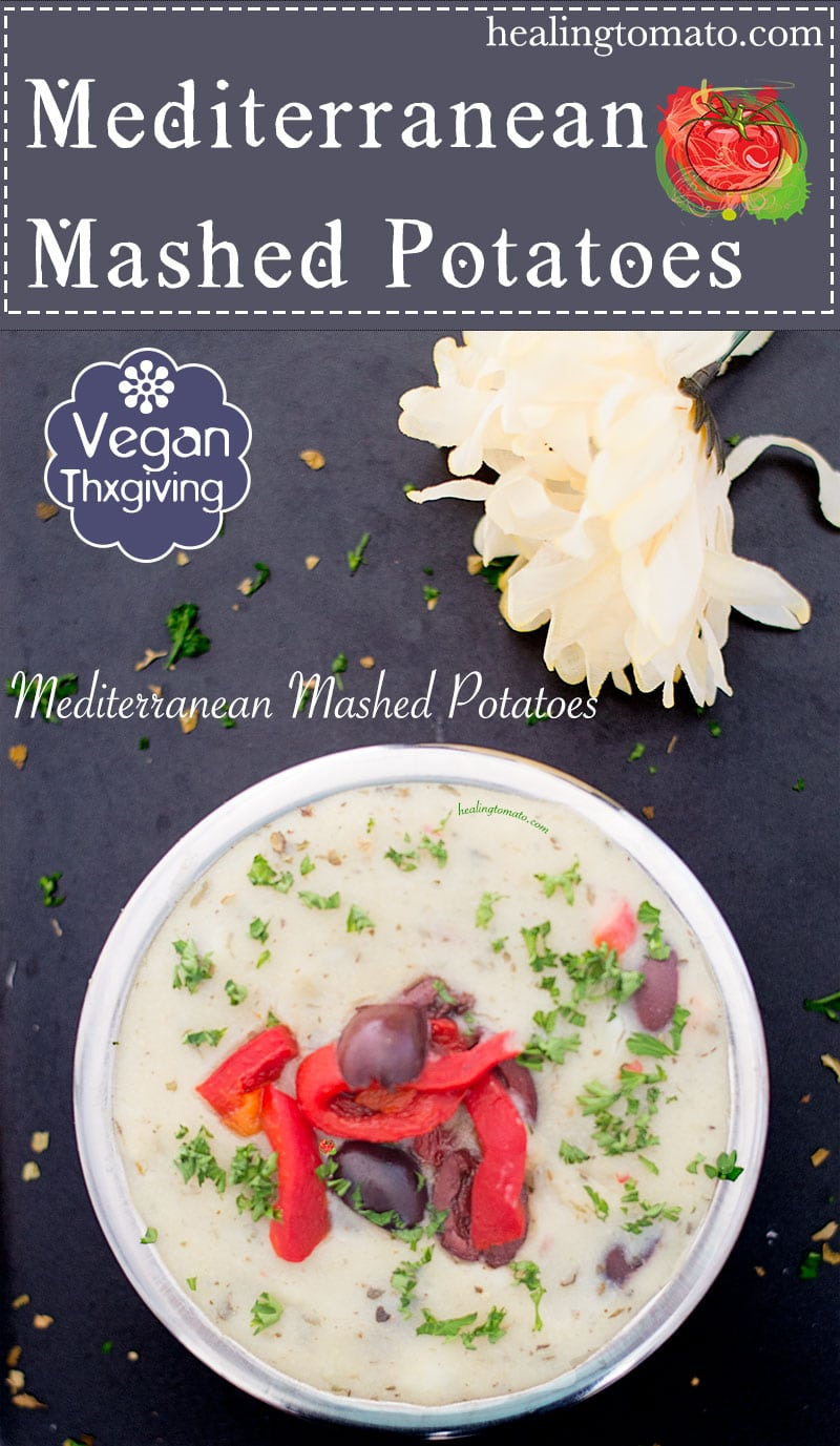 Mediterranean mashed potatoes made with red potatoes, vegan butter, roasted bell pepper, kalamata olives and homemade hazelnut milk. They are a perfect vegan thanksgiving side dish #vegan #thanksgiving #sides #vegetarian