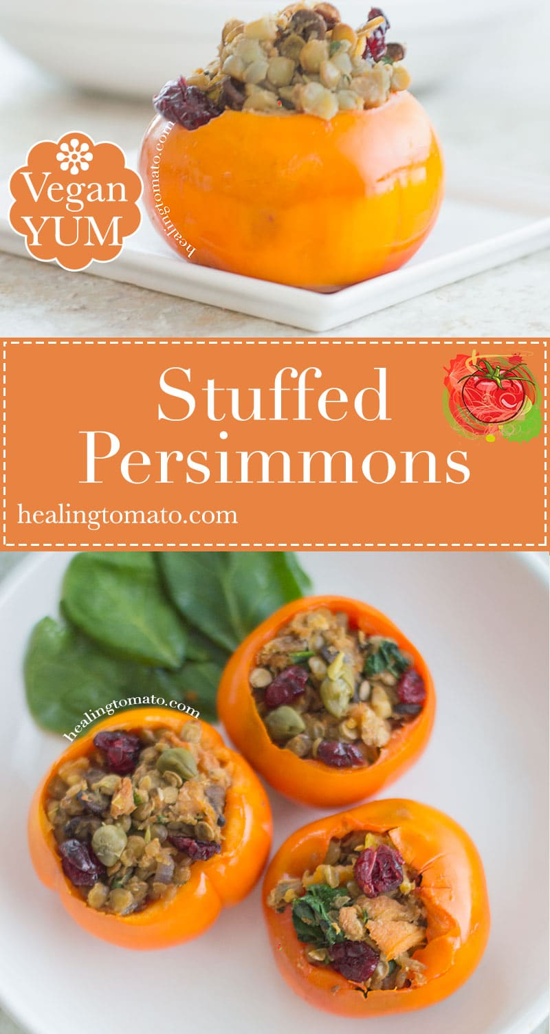 This savory stuffed persimmon recipe is the perfect side dish or quick lunch recipe. The persimmons are stuffed with lentils and cranberries. I love Roasted persimmons because they have a delicate and smoky flavor.